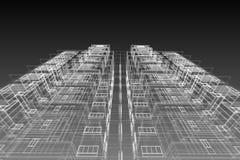 Αρχιτεκτονική που σύρει τη σύγχρονη τρισδιάστατη απεικόνιση Στοκ Εικόνα