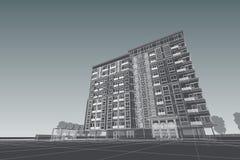 Αρχιτεκτονική που σύρει τη σύγχρονη τρισδιάστατη απεικόνιση Στοκ εικόνες με δικαίωμα ελεύθερης χρήσης