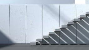 αρχιτεκτονική σύγχρονη Εξωτερικό, patio, σκαλοπάτια με τους άσπρους τοίχους και φως του ήλιου ελεύθερη απεικόνιση δικαιώματος