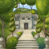 Αρχιτεκτονική σύνθεση με μια σκάλα, ένα κτήριο και έναν κήπο o Παλαιό μέγαρο στην πυκνή βλάστηση απεικόνιση αποθεμάτων
