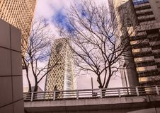 Αρχιτεκτονική της Ιαπωνίας ουρανοξύστες Τόκιο Στοκ Φωτογραφίες