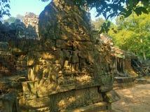 Αρχιτεκτονική της Καμπότζης Bas-ανακούφιση Η χάραξη τοίχων σε Angkor Wat σύνθετο Siem συγκεντρώνει Στοκ φωτογραφίες με δικαίωμα ελεύθερης χρήσης