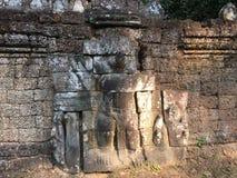 Αρχιτεκτονική της Καμπότζης Bas-ανακούφιση Η χάραξη τοίχων σε Angkor Wat σύνθετο Siem συγκεντρώνει Στοκ Εικόνα