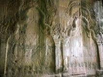 Αρχιτεκτονική της Καμπότζης Bas-ανακούφιση Η χάραξη τοίχων σε Angkor Wat σύνθετο Siem συγκεντρώνει Στοκ Φωτογραφία