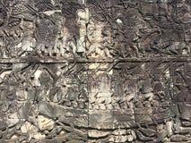 Αρχιτεκτονική της Καμπότζης Bas-ανακούφιση που απεικονίζει τα ιστορικές γεγονότα και τις καθημερινές ζωές Γλυπτική τοίχων του Khm Στοκ Εικόνα