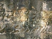 Αρχιτεκτονική της Καμπότζης Bas-ανακούφιση που απεικονίζει τα ιστορικές γεγονότα και τις καθημερινές ζωές Γλυπτική τοίχων του Khm Στοκ Εικόνες
