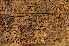 Αρχιτεκτονική της Καμπότζης Khmer γλυπτική bas-ανακούφισης ναών Bayon Στοκ Φωτογραφία