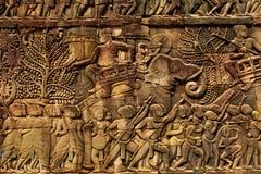 Αρχιτεκτονική της Καμπότζης Khmer γλυπτική bas-ανακούφισης ναών Bayon Στοκ Εικόνες