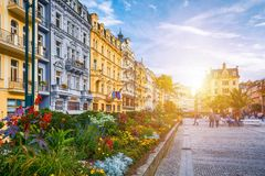 Αρχιτεκτονική του Κάρλοβυ Βάρυ Karlsbad, Δημοκρατία της Τσεχίας Είναι τ Στοκ Φωτογραφίες