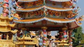 Αρχιτεκτονική του κινεζικού ναού Bangsaen στην Ταϊλάνδη Εξωτερική εμφάνιση απόθεμα βίντεο