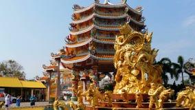 Αρχιτεκτονική του κινεζικού ναού Bangsaen στην Ταϊλάνδη Εξωτερική εμφάνιση φιλμ μικρού μήκους