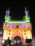 Αρχιτεκτονική του σημαδιού εδάφους κληρονομιάς Charminar, AP, Ινδία. Φωτισμένος κατά τη διάρκεια της διάσκεψης των Η.Ε των κόμμα-1 Στοκ Εικόνες