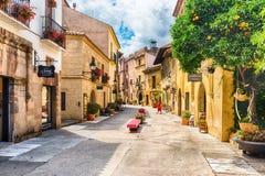 Αρχιτεκτονική Poble Espanyol στο Hill Montjuic, Βαρκελώνη, Cata Στοκ Φωτογραφία