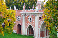 Αρχιτεκτονική Tsaritsyno του πάρκου, Μόσχα. Στοκ εικόνα με δικαίωμα ελεύθερης χρήσης