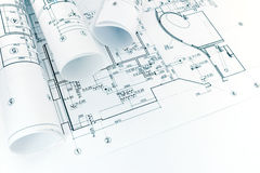 Αρχιτεκτονικοί σχέδια σχεδίων ορόφων και ρόλοι του σχεδιαγράμματος Στοκ Φωτογραφίες