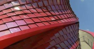 Αρχιτεκτονικό κόκκινο σχέδιο μετάλλων απόθεμα βίντεο