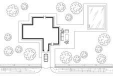 Αρχιτεκτονικό μεμονωμένο σπίτι σχεδίων σκίτσων γενικό Στοκ Φωτογραφίες
