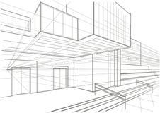 Αρχιτεκτονικό σκίτσο ενός κυβικού κτηρίου στοκ εικόνα με δικαίωμα ελεύθερης χρήσης