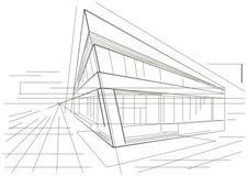Αρχιτεκτονικό σκίτσο του σύγχρονου κτηρίου γωνιών στοκ εικόνα