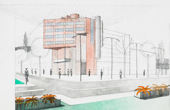 Αρχιτεκτονικό σκίτσο Στοκ Εικόνα