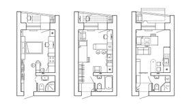 Αρχιτεκτονικό σχέδιο ενός σπιτιού Σχεδιάγραμμα του διαμερίσματος με τα έπιπλα κατά την άποψη σχεδίων ελεύθερη απεικόνιση δικαιώματος