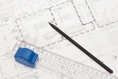 Αρχιτεκτονικό σχέδιο και σχέδιο Στοκ Εικόνες