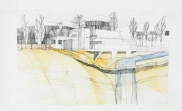 Αρχιτεκτονικό σχέδιο της οικοδόμησης και των περιχώρων Στοκ φωτογραφία με δικαίωμα ελεύθερης χρήσης