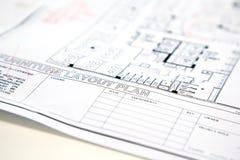 Αρχιτεκτονικό τεχνικό σχέδιο σχεδίων προγράμματος Στοκ Φωτογραφία