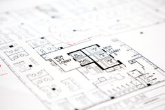 Αρχιτεκτονικό τεχνικό σχέδιο σχεδίων προγράμματος Στοκ φωτογραφία με δικαίωμα ελεύθερης χρήσης