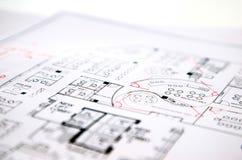 Αρχιτεκτονικό τεχνικό σχέδιο σχεδίων προγράμματος Στοκ Εικόνα
