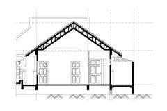 Αρχιτεκτονικό υπόβαθρο, αρχιτεκτονικό τμήμα, κατασκευαστικό σχέδιο Στοκ Εικόνες
