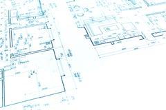 Αρχιτεκτονικό υπόβαθρο με το σχέδιο κατασκευής και τον τεχνικό Δρ Στοκ φωτογραφία με δικαίωμα ελεύθερης χρήσης