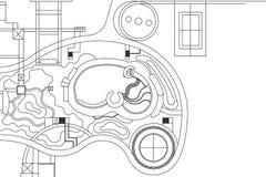 Αρχιτεκτονικό υπόβαθρο, σχέδιο τοπίων Στοκ φωτογραφία με δικαίωμα ελεύθερης χρήσης