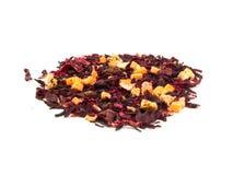 Αρωματικά hibiscus τσαγιού ανθίζουν το μίγμα γλασαρισμένων φρούτων Στοκ Φωτογραφίες