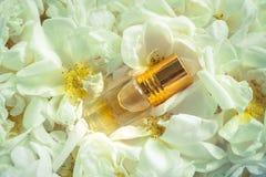 Αρωματισμένος αυξήθηκε πετρέλαιο Φυσικό πετρέλαιο για τη χαλάρωση σε ένα floral υπόβαθρο στοκ εικόνα με δικαίωμα ελεύθερης χρήσης