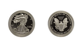 ασήμι αετών νομισμάτων Στοκ εικόνες με δικαίωμα ελεύθερης χρήσης