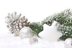 Ασήμι και λευκό διακοσμήσεων Χριστουγέννων Στοκ Φωτογραφία