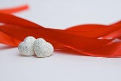 ασήμι καρδιών Στοκ Εικόνα