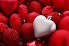ασήμι καρδιών Χριστουγένν&ome Στοκ Εικόνα