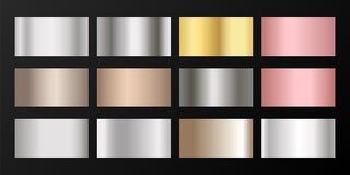 Ασήμι, λευκόχρυσος, χαλκός, ρόδινες χρυσές κλίσεις διανυσματική απεικόνιση