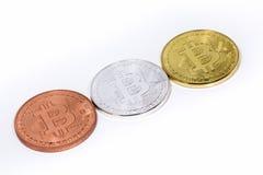 Ασήμι Bitcoin, χαλκός, χρυσός Στοκ Εικόνα