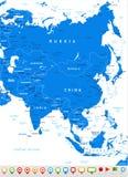 Ασία - εικονίδια χαρτών και ναυσιπλοΐας - απεικόνιση Στοκ φωτογραφία με δικαίωμα ελεύθερης χρήσης