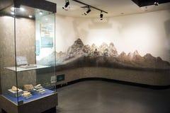 Ασία Κίνα, Πεκίνο, γεωλογικό μουσείο, εσωτερική αίθουσα έκθεσης Στοκ εικόνα με δικαίωμα ελεύθερης χρήσης
