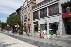 Ασία, Κίνα, Πεκίνο, οδός Qianmen, εμπορική οδός, οδός περιπάτων Στοκ Φωτογραφίες