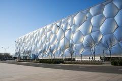 Ασία Κίνα, Πεκίνο, το εθνικό κέντρο Aquatics, η εμφάνιση οικοδόμησης Στοκ Εικόνες