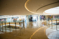 Ασία Κίνα, Πεκίνο, plaza αγορών λουλακιού, εσωτερική δομή κτηρίου Στοκ Φωτογραφίες