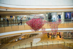 Ασία Κίνα, Πεκίνο, plaza αγορών λουλακιού, εσωτερική δομή κτηρίου Στοκ Εικόνα