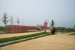 Ασία Κίνα, Πεκίνο, Yanqing, παγκόσμιο κρασί EXPO, σύγχρονο γλυπτό ŒLandscape, ράφι architectureï ¼ Στοκ φωτογραφία με δικαίωμα ελεύθερης χρήσης
