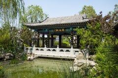 Ασία κινέζικα, Πεκίνο, κήπος EXPO, παλαιό κτήριο, περίπτερο, στοά Στοκ εικόνες με δικαίωμα ελεύθερης χρήσης