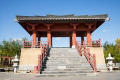 Ασία κινέζικα, Πεκίνο, κήπος EXPO, παλαιό κτήριο, περίπτερο, Στοκ Φωτογραφία